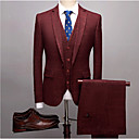 billiga Husdjursartiklar-Vinröd / Ljusgrå / Marinblå Randig Smal passform Polyester Kostym - Trubbig Singelknäppt 1 Knapp / kostymer