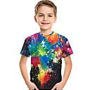 Χαμηλού Κόστους Παιδικά μοκασίνια-Παιδιά Νήπιο Αγορίστικα Ενεργό Βασικό Στάμπα 3D Ουράνιο Τόξο Στάμπα Κοντομάνικο Κοντομάνικο Ουράνιο Τόξο