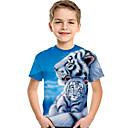ราคาถูก รองเท้าบูตผู้หญิง-เด็ก Toddler เด็กผู้ชาย ซึ่งทำงานอยู่ พื้นฐาน Tiger ลายพิมพ์ 3D สัตว์ ลายพิมพ์ แขนสั้น เสื้อยืด สีฟ้า