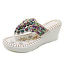 ราคาถูก รองเท้าแตะผู้หญิง-สำหรับผู้หญิง PU ฤดูร้อน วินเทจ / ไม่เป็นทางการ รองเท้าแตะและรองเท้าแตะ รองเท้าส้นตึก เปิดนิ้ว หินประกาย / เลื่อม ขาว / สีดำ