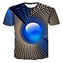 povoljno Stolne svjetiljke-Veći konfekcijski brojevi Majica s rukavima Muškarci - Ulični šik / Punk & Gotika Color block / 3D / Grafika Okrugli izrez Print Navy Plava XXXXL
