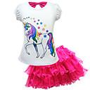 Χαμηλού Κόστους Σετ ρούχων για κορίτσια-Παιδιά Νήπιο Κοριτσίστικα Ενεργό Κομψό στυλ street Unicorn Στάμπα Δαντέλα Κοντομάνικο Κανονικό Κανονικό Βαμβάκι Σετ Ρούχων Ανθισμένο Ροζ