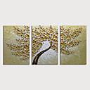 זול ציורים מופשטים-ציור שמן צבוע-Hang מצויר ביד - פרחוני / בוטני מודרני כלול מסגרת פנימית / שלושה פנלים
