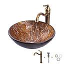 billiga Fristående tvättställ-Badrums sink / Badrumskran / Badrums Monteringssing Antik - Härdat Glas Rund Vessel Sink