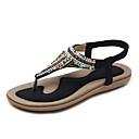 ราคาถูก รองเท้าแตะผู้หญิง-สำหรับผู้หญิง PU ฤดูร้อน วินเทจ / ไม่เป็นทางการ รองเท้าแตะ ส้นแบน เปิดนิ้ว สีดำ / Almond