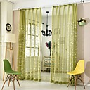 billiga Genomskinliga gardiner-Land Semi-Sheer En panel Skira Studierum / Kontor   Curtains / Broderi