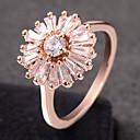 billige Motering-Dame Ring Kubisk Zirkonium 1pc Sølv Rose Gull Legering Sirkelformet trendy Elegant Bryllup Smykker Fancy Blomst Søtt