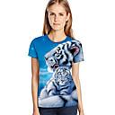 Χαμηλού Κόστους Walkie Talkie-Γυναικεία Μεγάλα Μεγέθη T-shirt 3D / Ζώο / Κινούμενα σχέδια Φαρδιά Στάμπα Μπλε Απαλό