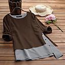 billige Joggeklær-Bomull Løstsittende Store størrelser T-skjorte Dame - Fargeblokk Kamel