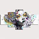 povoljno Slike za cvjetnim/biljnim motivima-Print Stretched Canvas Prints - Sažetak Tradicionalno Moderna Pet ploha Umjetničke grafike