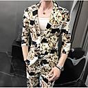 billiga Moderingar-Marinblå / Marinblå / Khaki grön Mönstrad Skräddarsydd passform Polyester Kostym - Trubbig Singelknäppt 1 Knapp / kostymer