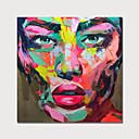 billige Abstrakte malerier-Hang malte oljemaleri Håndmalte - Mennesker Moderne Uten Indre Ramme