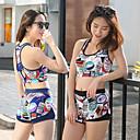Χαμηλού Κόστους Γυναικείες Μπλούζες-Γυναικεία Δύο Κομμάτι Μαγιό Ελαστίνη Μαγιό Προστασία από τον ήλιο UV Γρήγορο Στέγνωμα Αμάνικο 2 τεμάχια - Κολύμβηση Patchwork Άνοιξη Καλοκαίρι / Υψηλή Ελαστικότητα