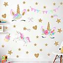 Χαμηλού Κόστους Αυτοκόλλητα Τοίχου-ουράνιο τόξο αστέρι χαριτωμένο αυτοκόλλητο τοίχο μονόκερος - λέξεις&αμπέραζ; ετικέτες αυτοκόλλητων ετικετών τοίχου / αεροπλάνο τοίχο αυτοκόλλητα χαρακτήρες μελέτη αίθουσα / γραφείο / τραπεζαρία /