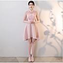 זול שמלות שושבינה-גזרת A צווארון גבוה באורך  הברך סאטן שמלה לשושבינה  עם אפליקציות על ידי LAN TING Express