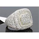 Χαμηλού Κόστους Αντρικά Δαχτυλίδια-Ανδρικά Δαχτυλίδι Cubic Zirconia 1pc Χρυσό Χαλκός Τετράγωνο Στυλάτο Iced Out Πάρτι Καθημερινά Κοσμήματα Κλασσικό Χαρά Απίθανο
