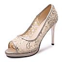 ราคาถูก รองเท้าแตะผู้หญิง-สำหรับผู้หญิง PU ฤดูร้อน คลาสสิก / อังกฤษ รองเท้าส้นสูง ส้น Stiletto ที่สวมนิ้วเท้า สีทอง / สีดำ / สีเงิน / งานแต่งงาน / พรรคและเย็น