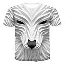 billiga ärm tatuering-Tryck, 3D / Djur T-shirt Herr Rund hals Vit