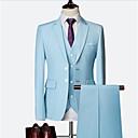 billiga Herraccessoarer-Svart / Vit / Himmelsblå Enfärgad Smal passform Nylon / Chinlon Kostym - Trubbig Singelknäppt Två knappar / kostymer