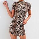 Χαμηλού Κόστους Εξτένσιος μαλλιών με φυσικό χρώμα-Γυναικεία Κομψό Θήκη Φόρεμα - Λεοπάρ Μίνι