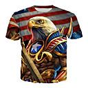 billige T-skjorter og singleter til herrer-Rund hals Store størrelser T-skjorte Herre - 3D, Trykt mønster Regnbue / Kortermet