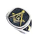 Χαμηλού Κόστους Αντρικά Δαχτυλίδια-Ανδρικά Δαχτυλίδι Τεκτονικά δαχτυλίδια 1pc Μαύρο Ανοξείδωτο Ατσάλι Καθημερινά Δρόμος Κοσμήματα