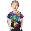 Χαμηλού Κόστους Μπλουζάκια για κορίτσια-Παιδιά Νήπιο Κοριτσίστικα Ενεργό Βασικό Γεωμετρικό Στάμπα 3D Στάμπα Κοντομάνικο Κοντομάνικο Μαύρο