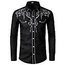 baratos Camisas Masculinas-Homens Tamanho Europeu / Americano Camisa Social Bordado, Sólido Colarinho Clássico Preto