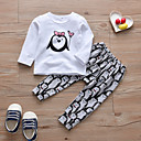 Χαμηλού Κόστους Ρούχα τρεξίματος-Μωρό Κοριτσίστικα Καθημερινό / Ενεργό Στάμπα Στάμπα Μακρυμάνικο Κανονικό Βαμβάκι Σετ Ρούχων Λευκό / Νήπιο