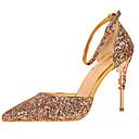 ราคาถูก รองเท้าแตะผู้หญิง-สำหรับผู้หญิง Synthetics ตก / ฤดูร้อนฤดูใบไม้ผลิ หวาน / อังกฤษ รองเท้าส้นสูง ส้น Stiletto Pointed Toe เลื่อม สายรุ้ง / แดง / สีน้ำตาลอ่อน / งานแต่งงาน / พรรคและเย็น