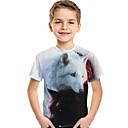 Χαμηλού Κόστους Μπλουζάκια για αγόρια-Παιδιά Νήπιο Αγορίστικα Ενεργό Βασικό Λύκος Γεωμετρικό 3D Ζώο Στάμπα Κοντομάνικο Κοντομάνικο Λευκό