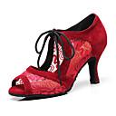 olcso Latin cipők-Női Dance Shoes Műbőr Latin cipők Magassarkúk Kubai sarok Személyre szabható Fekete / Piros / Teljesítmény / Bőr / Gyakorlat