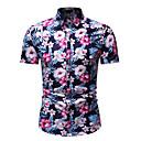 זול מקרנים-פרחוני / גיאומטרי צווארון עומד(סיני) חולצה - בגדי ריקוד גברים קשת / שרוולים קצרים