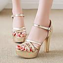 ราคาถูก รองเท้าแตะผู้หญิง-สำหรับผู้หญิง PU ฤดูร้อน คลาสสิก / อังกฤษ รองเท้าแตะ ส้นหนา เปิดนิ้ว หัวเข็มขัด ขาว / สีดำ / สีเงิน / พรรคและเย็น