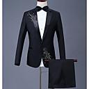 povoljno Zidne tapete-Muškarci Veći konfekcijski brojevi odijela, Geometrijski oblici Kragna košulje Poliester Crn / Red / purpurna boja / Slim