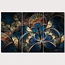 זול הדפסים-דפוס הדפסי בד מתוחים - פרחוני / בוטני מסורתי מודרני שלושה פנלים הדפסים אמנותיים