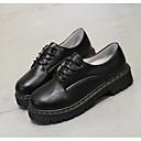 זול נעלים שטוחות לנשים-בגדי ריקוד נשים PU אביב קיץ / סתיו חורף יום יומי שטוחות עקב עבה בוהן עגולה לבן / שחור / ורוד
