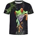 billige T-skjorter og singleter til herrer-Bomull Rund hals Store størrelser T-skjorte Herre - 3D / Dyr, Trykt mønster Svart