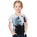 Χαμηλού Κόστους Μπλουζάκια για κορίτσια-Παιδιά Νήπιο Κοριτσίστικα Ενεργό Βασικό Λύκος Γεωμετρικό Στάμπα 3D Στάμπα Κοντομάνικο Κοντομάνικο Λευκό / Ζώο