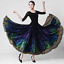 ราคาถูก ชุดเต้น Ballroom-ชุดเต้นรำโมเดิร์น ชุดเดรสต่างๆ สำหรับผู้หญิง การฝึกอบรม / Performance Crystal Cotton / ตารางไขว้ / Elastane แสงระยิบระยับ / ข้อต่อ แขนยาว 3/4 ธรรมชาติ ชุดเดรส