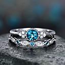 ราคาถูก แหวน-สำหรับผู้หญิง แหวน Cubic Zirconia 2pcs สีม่วง สีเขียว สีฟ้า โลหะผสม วงกลม อินเทรนด์ สง่างาม งานแต่งงาน เครื่องประดับ แฟนซี Heart