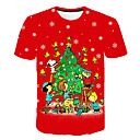 billiga Tomtekostymer & Julklänning-Tryck, 3D / Grafisk Plusstorlekar T-shirt - Grundläggande Herr Rund hals Rubinrött XXXXL / Kortärmad
