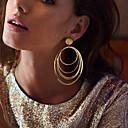 baratos Brincos-Mulheres Brincos Compridos Estilo vintage Geométrico Importante Na moda Chapeado Dourado Brincos Jóias Dourado Para Festa Presente Diário Carnaval 1pç