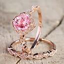 billige Motering-Dame Ring Kubisk Zirkonium 2pcs Rosa Legering Sirkelformet trendy Elegant Bryllup Smykker Klassisk Søtt