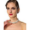 billiga Jewelry Set-Dam Vit Kubisk Zirkoniumoxid Halsband Örhänge Klassisk örhängen Smycken Vit Till Bröllop 1set