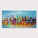 billige Abstrakte malerier-Hang malte oljemaleri Håndmalte - Landskap Abstrakte Landskap Moderne Inkluder indre ramme