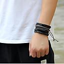ราคาถูก สร้อยข้อมือผู้ชาย-สำหรับผู้ชาย กี่สร้อยข้อมือ ถัก การสาน Stylish หนัง สร้อยข้อมือเครื่องประดับ สีดำ สำหรับ ปาร์ตี้ ทุกวัน