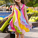 Χαμηλού Κόστους Φορέματα για κορίτσια-Παιδιά Νήπιο Κοριτσίστικα Γλυκός χαριτωμένο στυλ Ουράνιο Τόξο Patchwork Πολυεπίπεδο Δίχτυ Patchwork Αμάνικο Ασύμμετρο Φόρεμα Φούξια