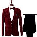 billiga Husdjursartiklar-Vinröd Mönstrad Smal passform Nylon Kostym - Trubbig Singelknäppt 1 Knapp / kostymer