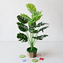 baratos Plantas Artificiais-1 pc simples criativo simulação planta vaso de folhas verdes de engenharia folhas verdes 18 garfo tartaruga de volta deixa escritório sala de estar estudo decoração plantas verdes